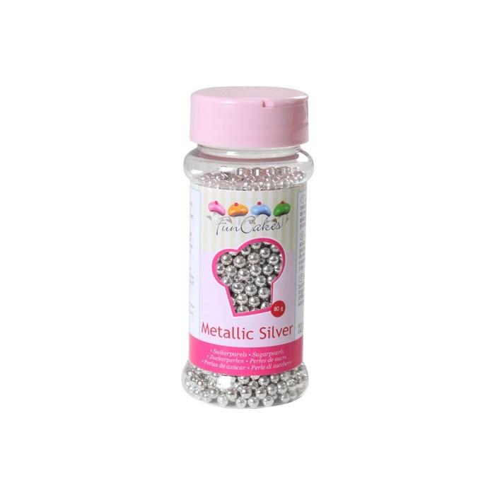 Perlas plateadas 4mm - Funcakes