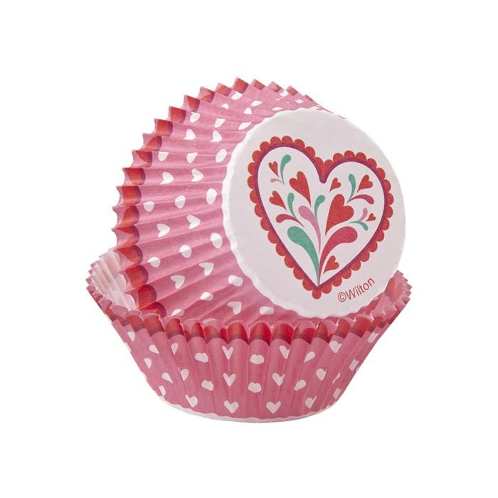 Cápsulas rosas con corazones (75) - Wilton