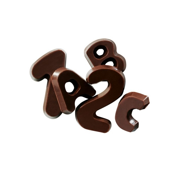 Alfabeto y números de Chocolate negro