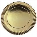 Plato cartón metal oro 27 cm
