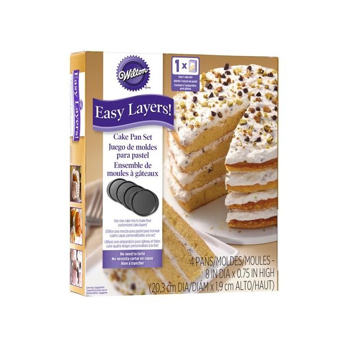 Juego cuatro moldes Layer Cake Wilton 20 cm