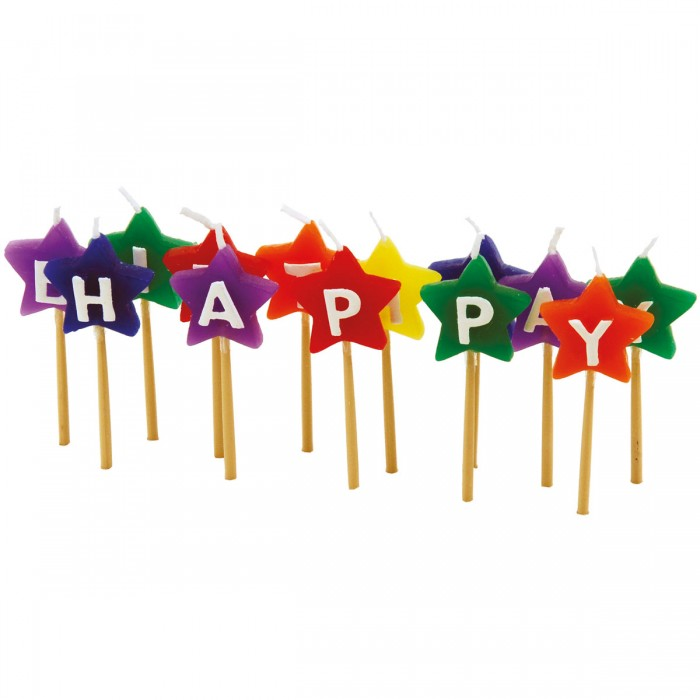 "Velas con forma de estrella ""Happy Birthday"""