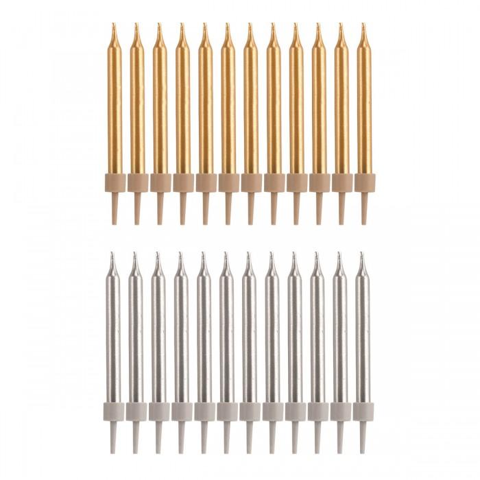 Set de 24 velas doradas y plateadas
