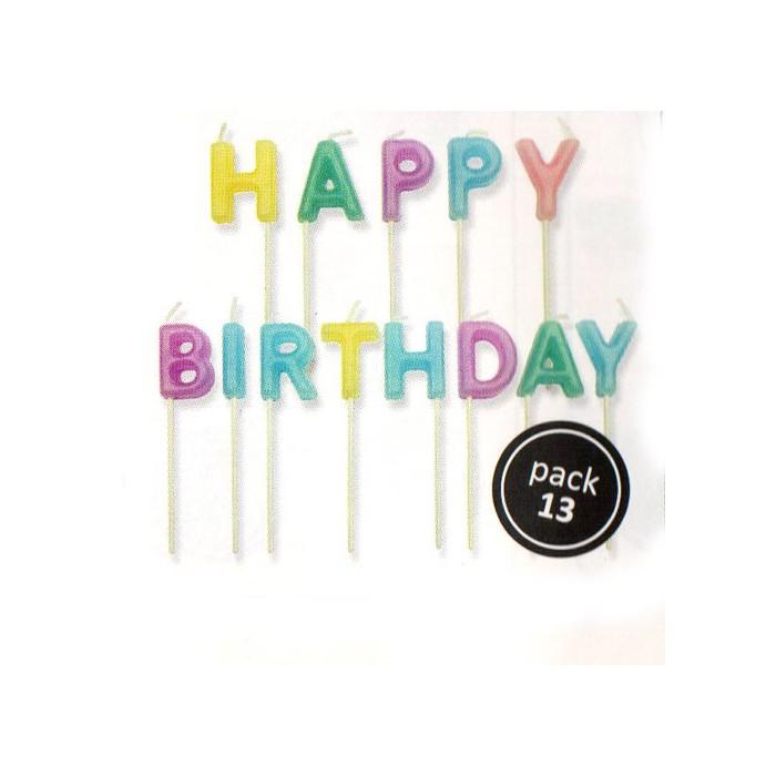 """Velas letras """"Happy Birthday"""""""