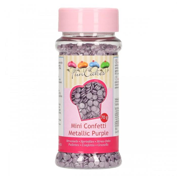 Mini confetti purpura metalizado 70g. - Funcakes