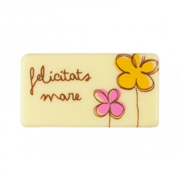 """Placa chocolate """"Felicitats pare/mare"""" peq."""