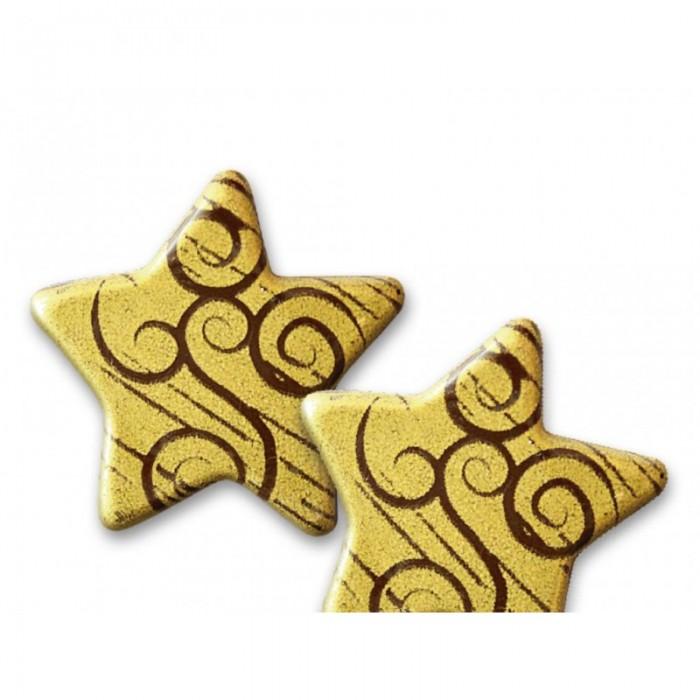 Estrella chocolate dorada/espiral, 3 unid.