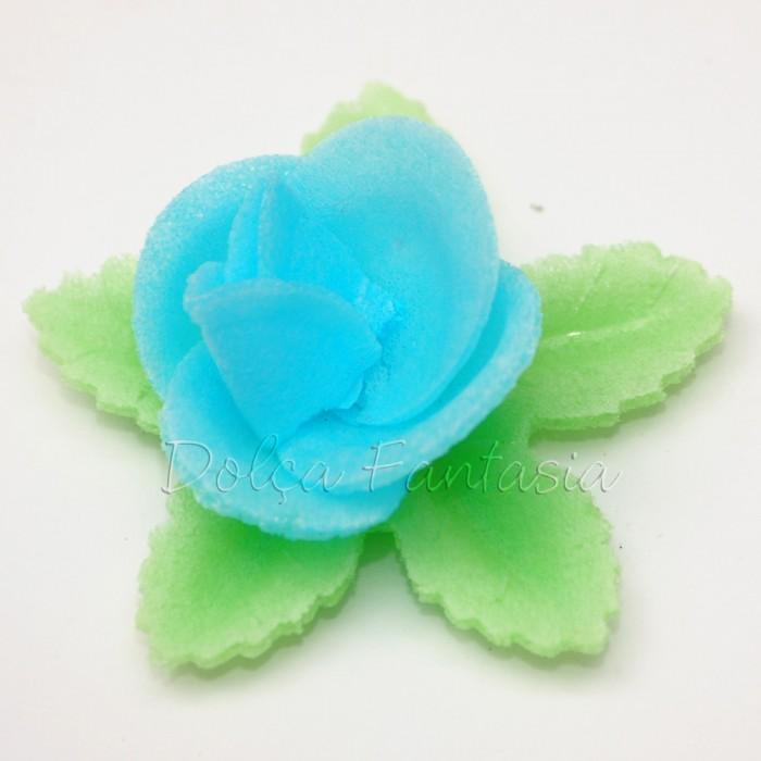 Set de 3 Rosas de oblea color azul
