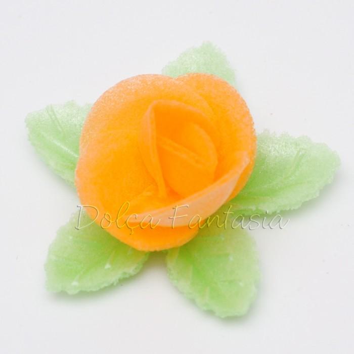 Set de 3 Rosas de oblea color naranja