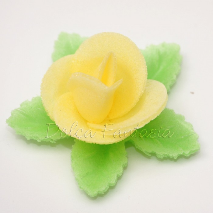 Set de 3 Rosas de oblea color amarillo