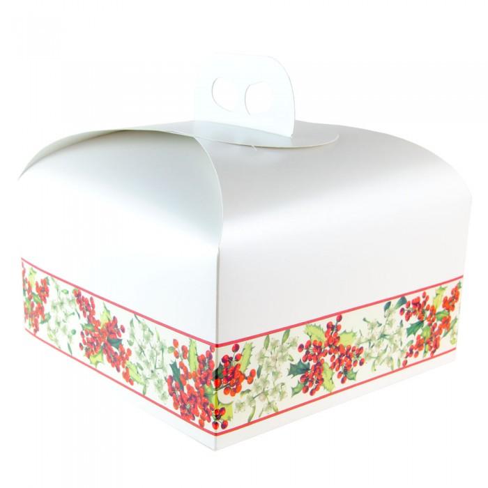 Caja para tartas decoracion navideña con asa de 25 cms