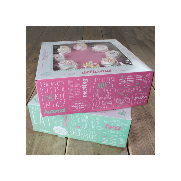 Set de 2 cajas para tartas diseño Quotes - Funcakes