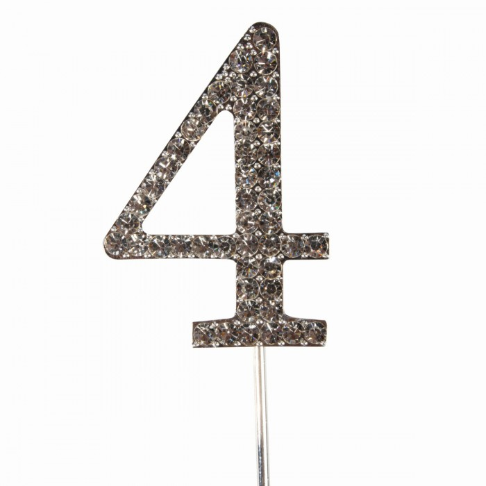 "Cake Topper Diamante ""4"""