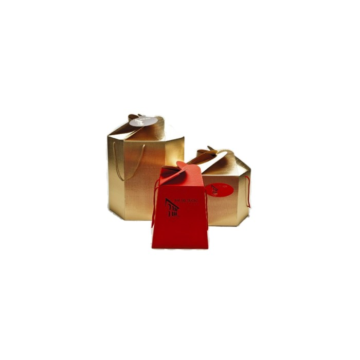 Caja Panettone Rojo cuadrada 21 cm