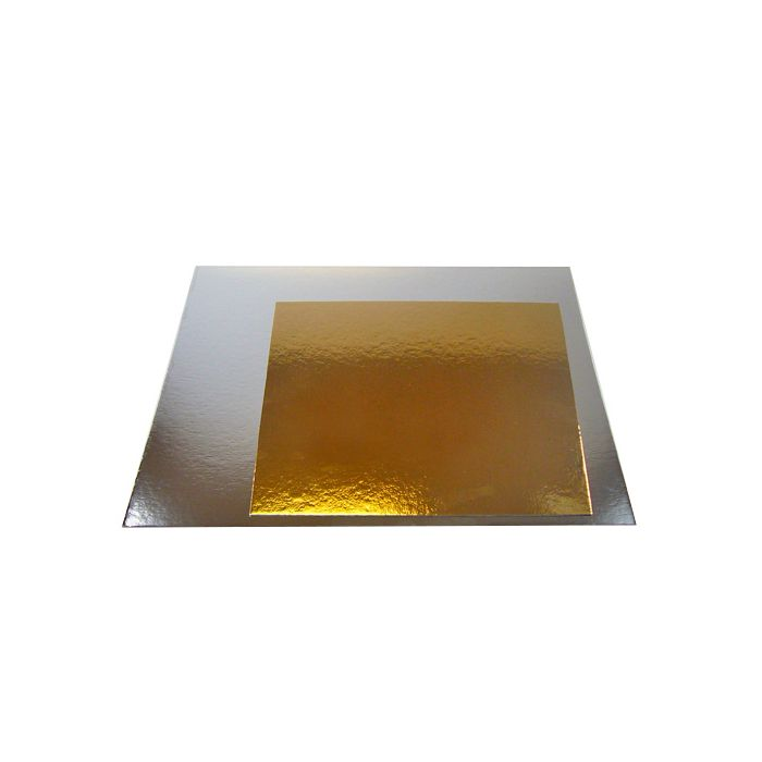Base cartón dorado/plata cuadrada 20 cm