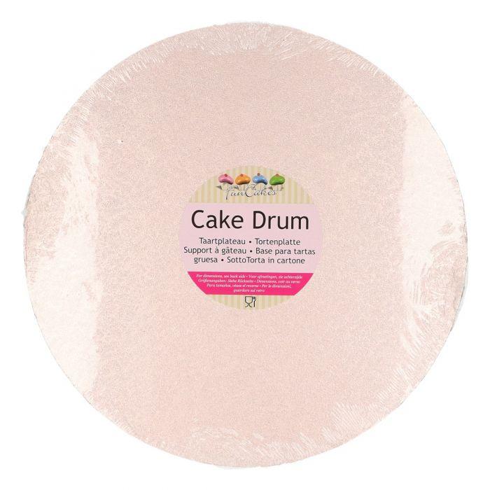 Cake Drum / Base redonda 30 cm, grosor 12 mm rosa dorado - Funcakes