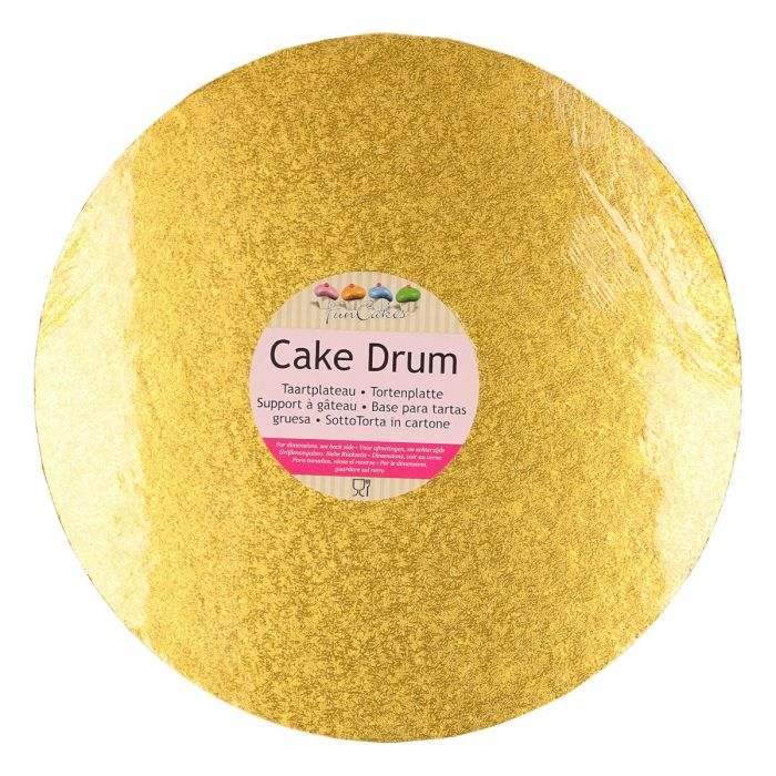 Cake Drum / Base redonda dorada 30 cm, grosor 12 mm - Funcakes