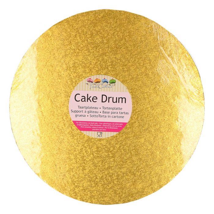 Cake Drum / Base redonda dorada 30 cm, grosor 12 mm - Funcakes