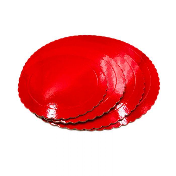 Base redonda roja 25 cms., grosor 3 mm