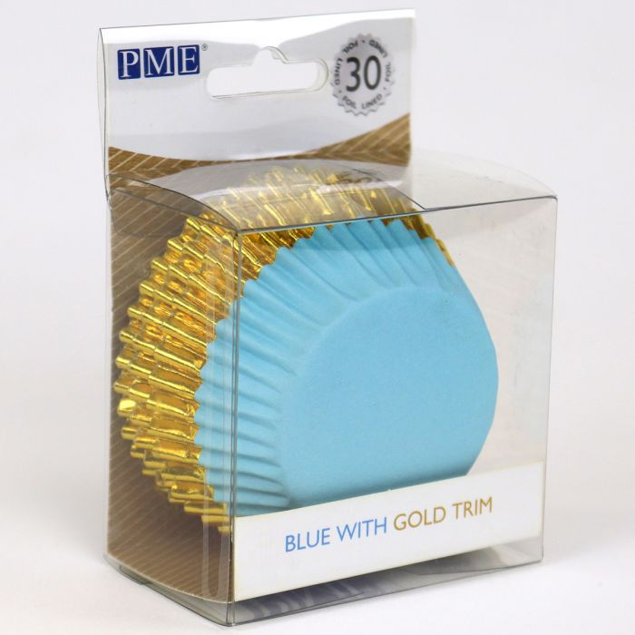 Cápsulas de Aluminio azul con Adorno Oro 30u. - PME
