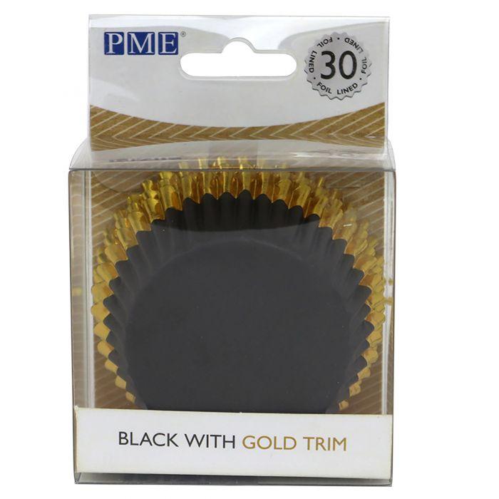 Cápsulas de Aluminio negro con Adorno Oro 30u. - PME