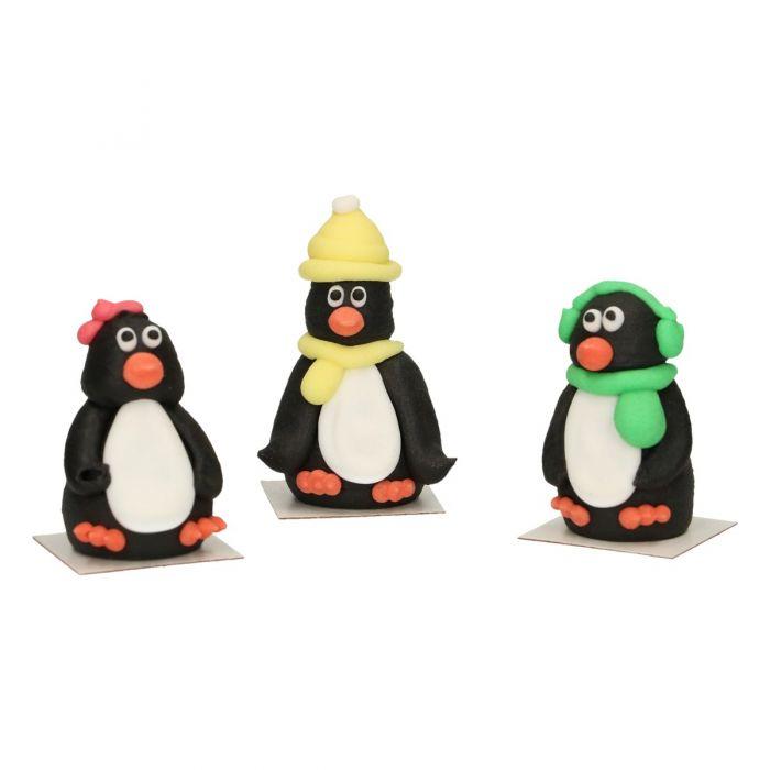 Set de 3 figuras de azúcar con forma de pingüino - FunCakes