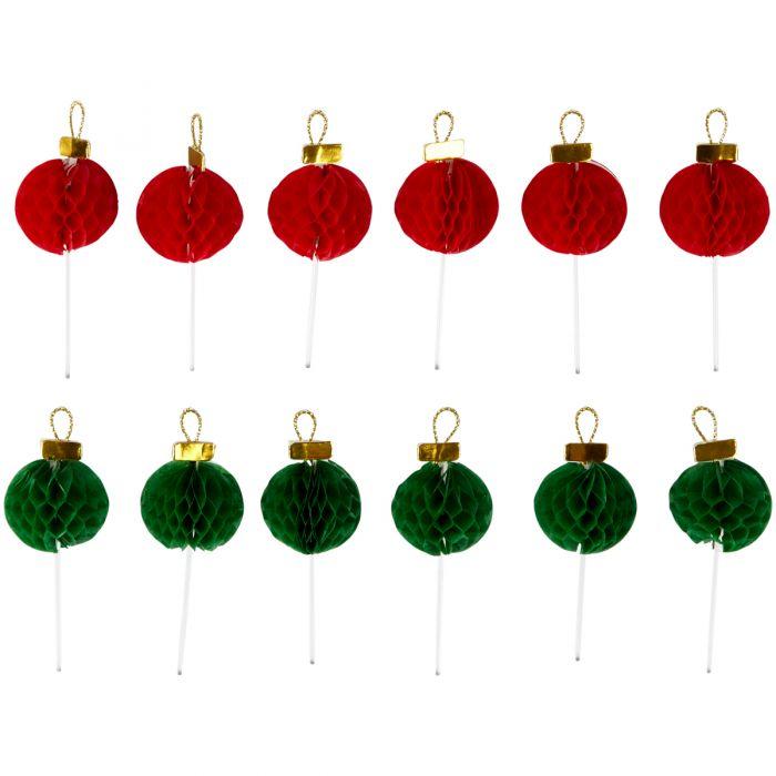 12 Toppers para cupcakes con forma de bola navideña - Wilton