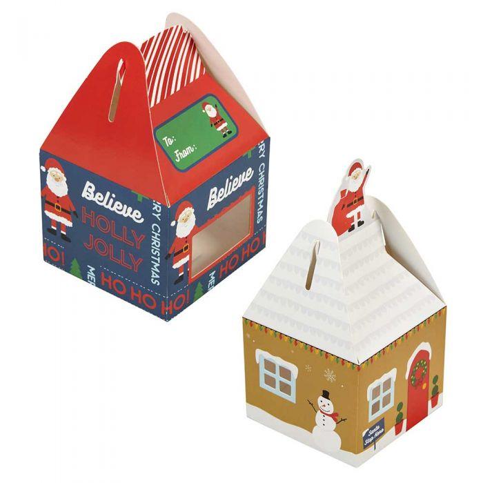 Set de 4 Cajas mini casa para dulces navideños - Wilton