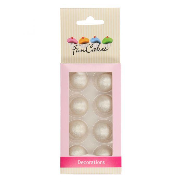 Set de 8 bolas de chocolate plateadas - Funcakes.