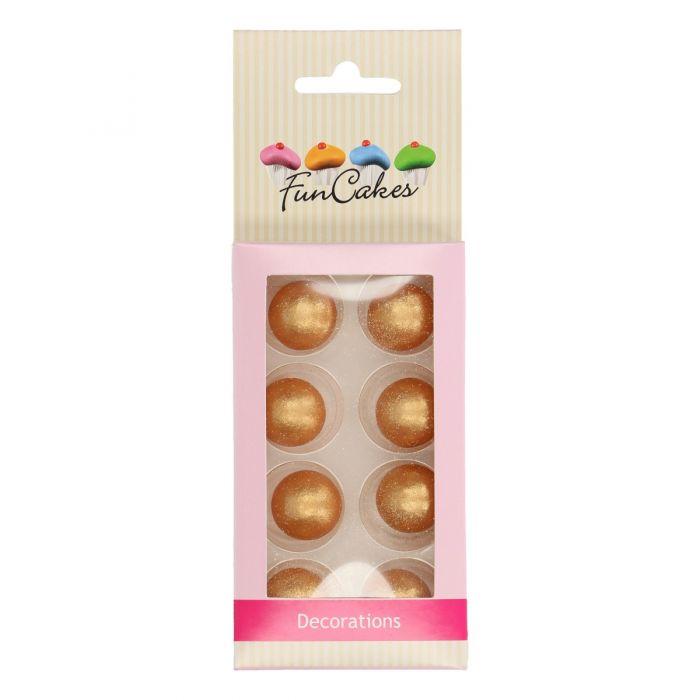 Set de 8 bolas de chocolate doradas - Funcakes.
