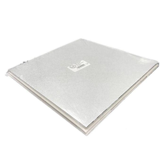 Base plata rectangular + caja blanca tarta 45x35 cm