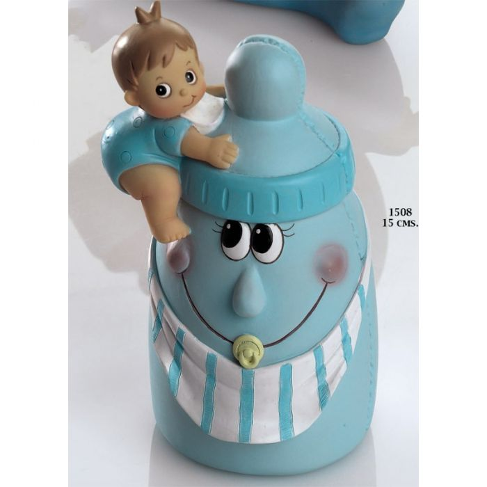 Hucha biberón azul con bebé
