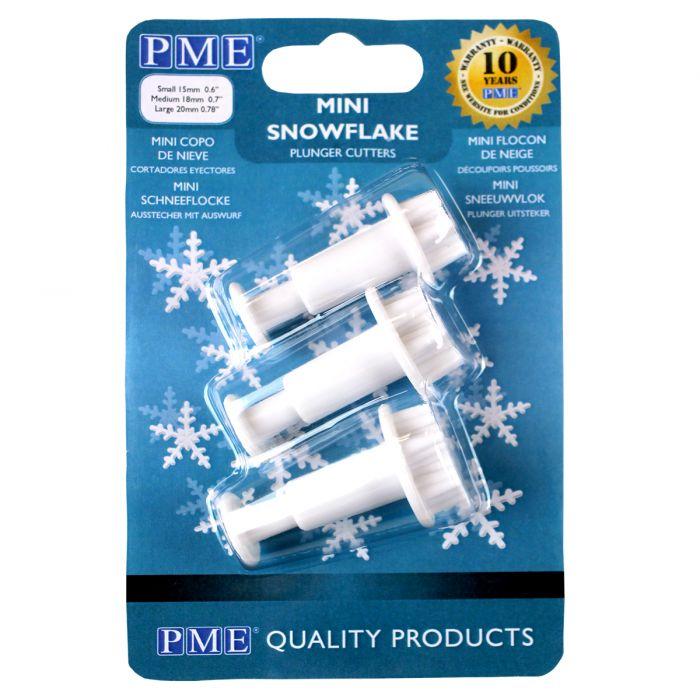 Set 3 mini cortadores copo de nieve con expulsor PME