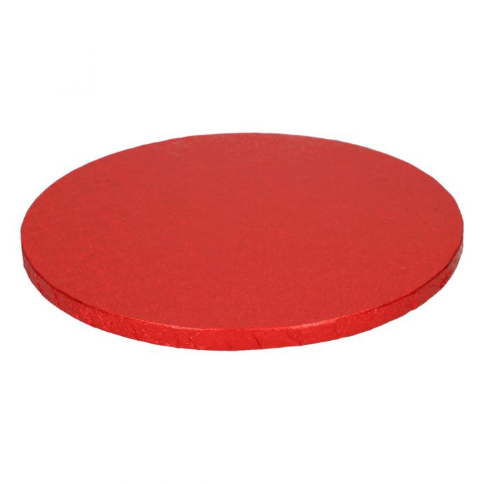 Cake Drum / Base Redonda 25 cm, grosor 12 mm Rojo - Funcakes