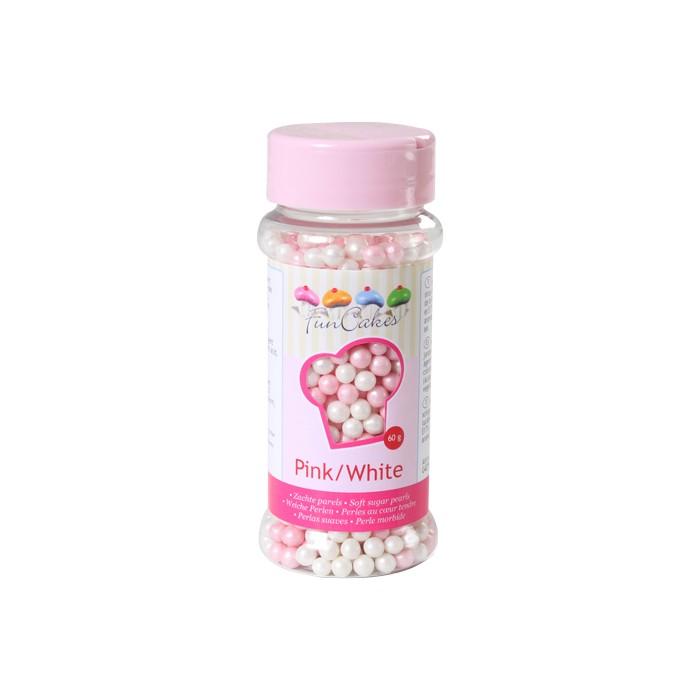 Perlas blandas nacaradas rosa / blanco - Funcakes