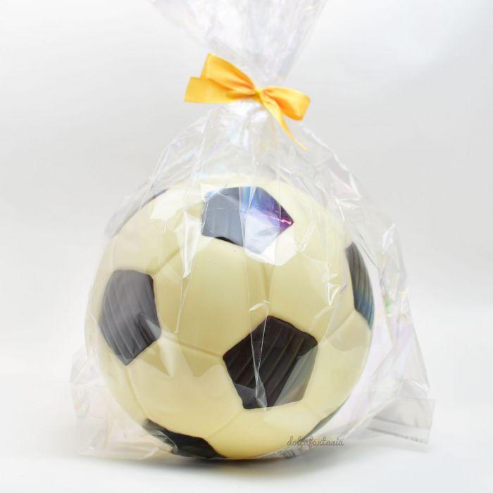 Balón fútbol chocolate blanco y con leche 500 grs. 18 cms. ø
