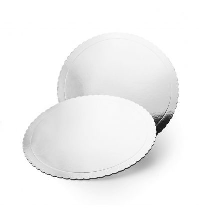 Base redonda plata efecto espejo con ondas 20 cm