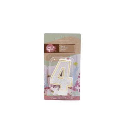 Vela purpurina blanca y dorada número 4