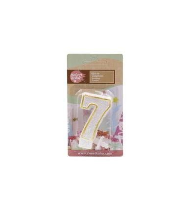 Vela purpurina blanca y dorada número 6