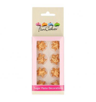 Pack de 24 estrellas doradas de azucar comestible - Funcakes