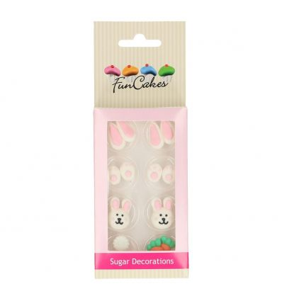 ¡Convierte la Pascua en una gran fiesta con estas decoraciones de azúcar de FunCakes! Este detallado set de decoración de azúc