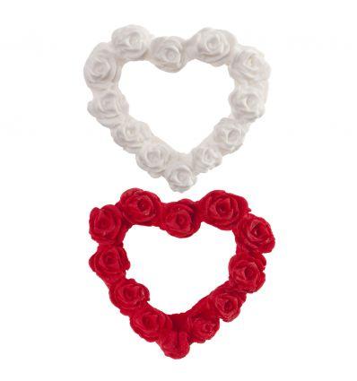 Set dos corazones azúcar rosas blanco y rojo