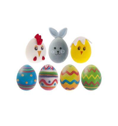 Decoración azúcar huevos, conejos y polllos Pascua 2D