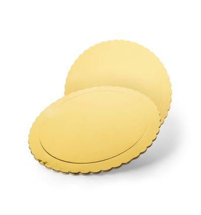 Base redonda oro efecto espejo con ondas 20 cm