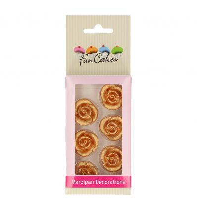 Set 6 rosas doradas de mazapán Funcakes