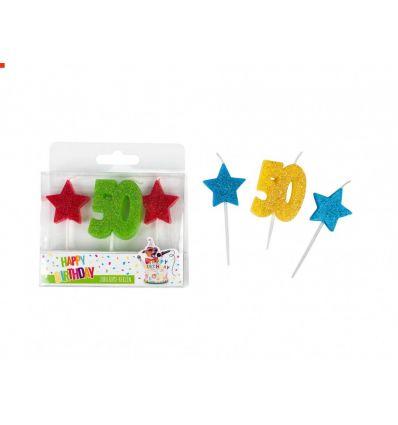 Pack 3 velas - 50 y estrellas