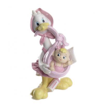 Cigüeña pañuelo rosa con bebé