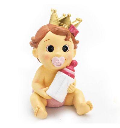 Hucha Bebé Corona Rosa con biberón