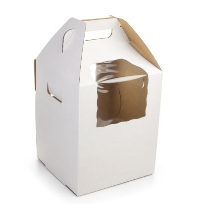 Caja para tarta blanca con dos ventanas