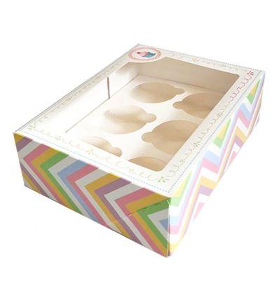 Caja 6 cupcakes estampada